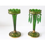 Pair of Victorian Green Glass Lustres with Gilt Decoration