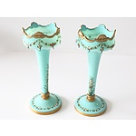 Pair of Victorian Blue Glass Lustres with Gilt and Floral Enamel Decoration
