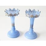 Pair of Victorian Blue Glass Lustres with Gilt Decoration