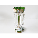 Victorian Green Glass Lustre with Gilt and Enamel Decoration
