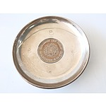 Roberts and Dore Sterling Silver Dish with Mounted Coin Celebrating 25th Wedding Anniversary of Queen Elizabeth II and Prince Philip