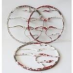 Three Painted Cast Iron Flying Bird Panels