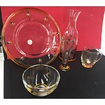 Box Set of Bumble Bee Glassware (Cups, Plate, Vase, and Bowls)