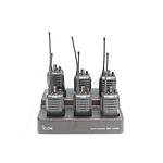 Six Icom IC-F4003 Portable UHF Radios and Multi Charging Station
