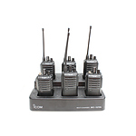Six Icom IC-F4003 Portable UHF Radios and Multi Charging Station