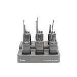 Six Icom IC-F24 Portable UHF/VHF Radios and Multi Charging Station
