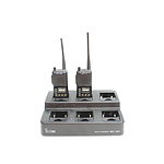 Two Icom IC-F4S Portable UHF Radios and Multi Charging Station