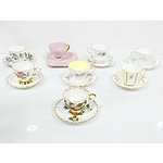 Eight Tea Pairs, Including Wedgwood, Westminster, Queen Anne, and More