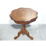 Antique Style Burr Walnut Veneer Wine Table With Inlaid Motif