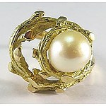 Vintage 18ct Gold Pearl Ring