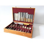 Vintage Pine Flatware Box with an Assortment of Flatware
