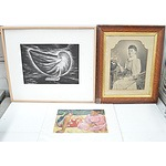Vintage Photo, Pencil Drawing and Painting - Lot of Three