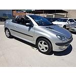 4/2002 Peugeot 206 CC  2d Cabriolet Silver 1.6L