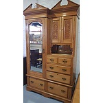 Ornate Four Piece Kauri Pine Combination Wardrobe Circa 1900