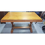 English Oak Trestle Table Circa 1930s