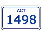 ACT Number Plate  1498