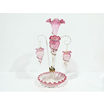 Victorian Cranberry Glass Epergne Circa 1890 with Various Shades