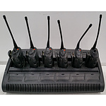 Six Motorola GP338 2-Way Radios With Charging Cradle