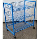 3-Tier Blue Steel Food Trolley