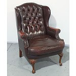 Vintage Moran Leather Wing Back Armchair