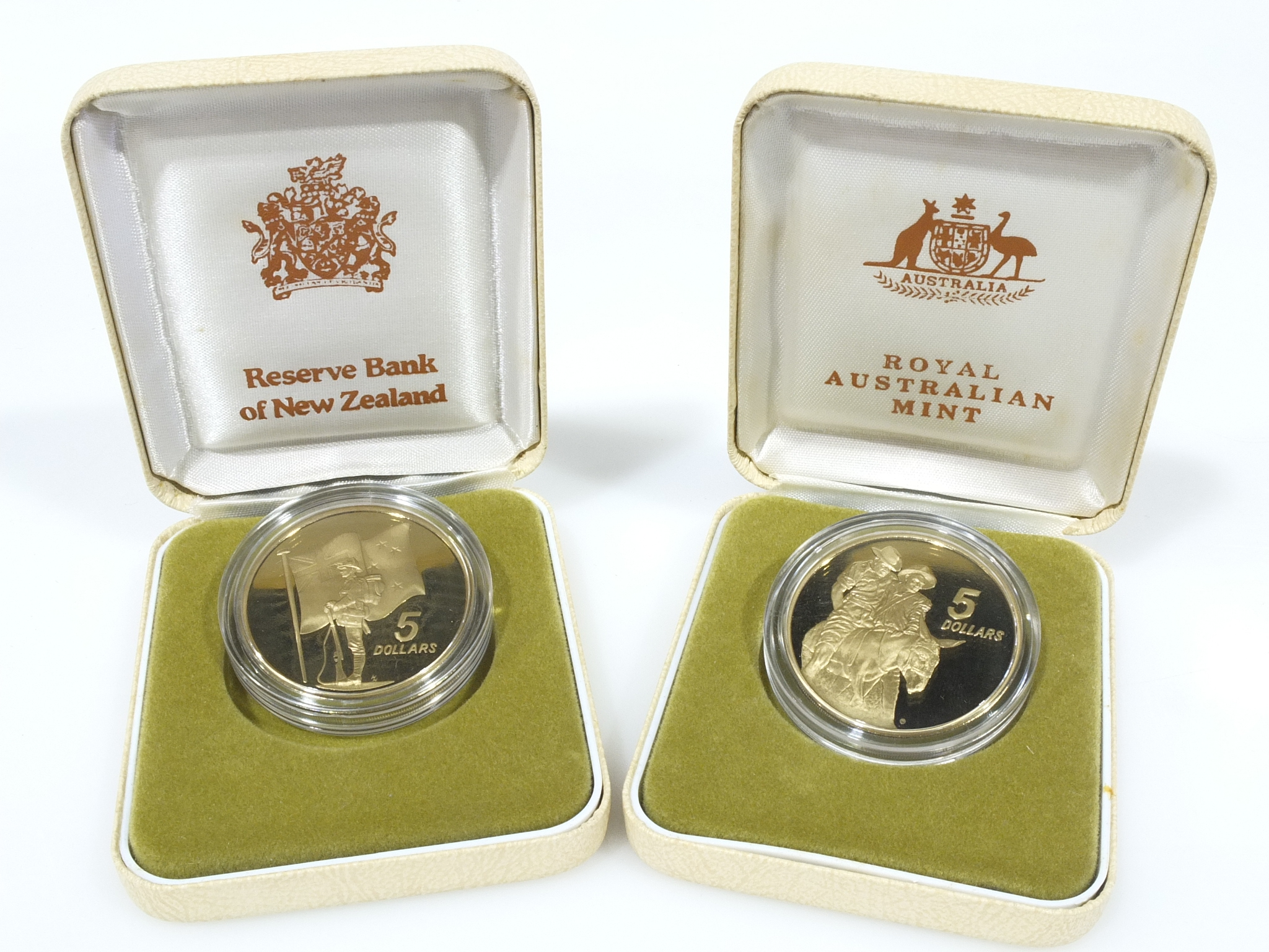 RAM aust and nz $5 proof coin set 1990 75th anniversary