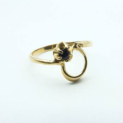 18ct Yellow Gold Ring With Small Dark Blue Sapphire