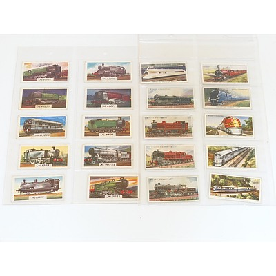 Collection of Train Themed Cigarette Cards and Postcards