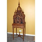 Intricately Carved Teak Victorian Style Bird Cage