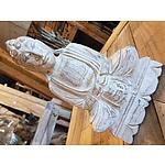 New Hand Carved Buddha Statue White Wash 30cm
