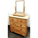 Antique Pine Chest of Drawers with Matching Dresser Mirror