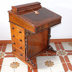 Victorian Burr Walnut Davenport with Tooled Leather Inlay Circa 1880