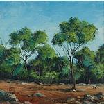 Kym Hart (b.1965) Man & Dog in Bush Landscape,1989 Oil on Board