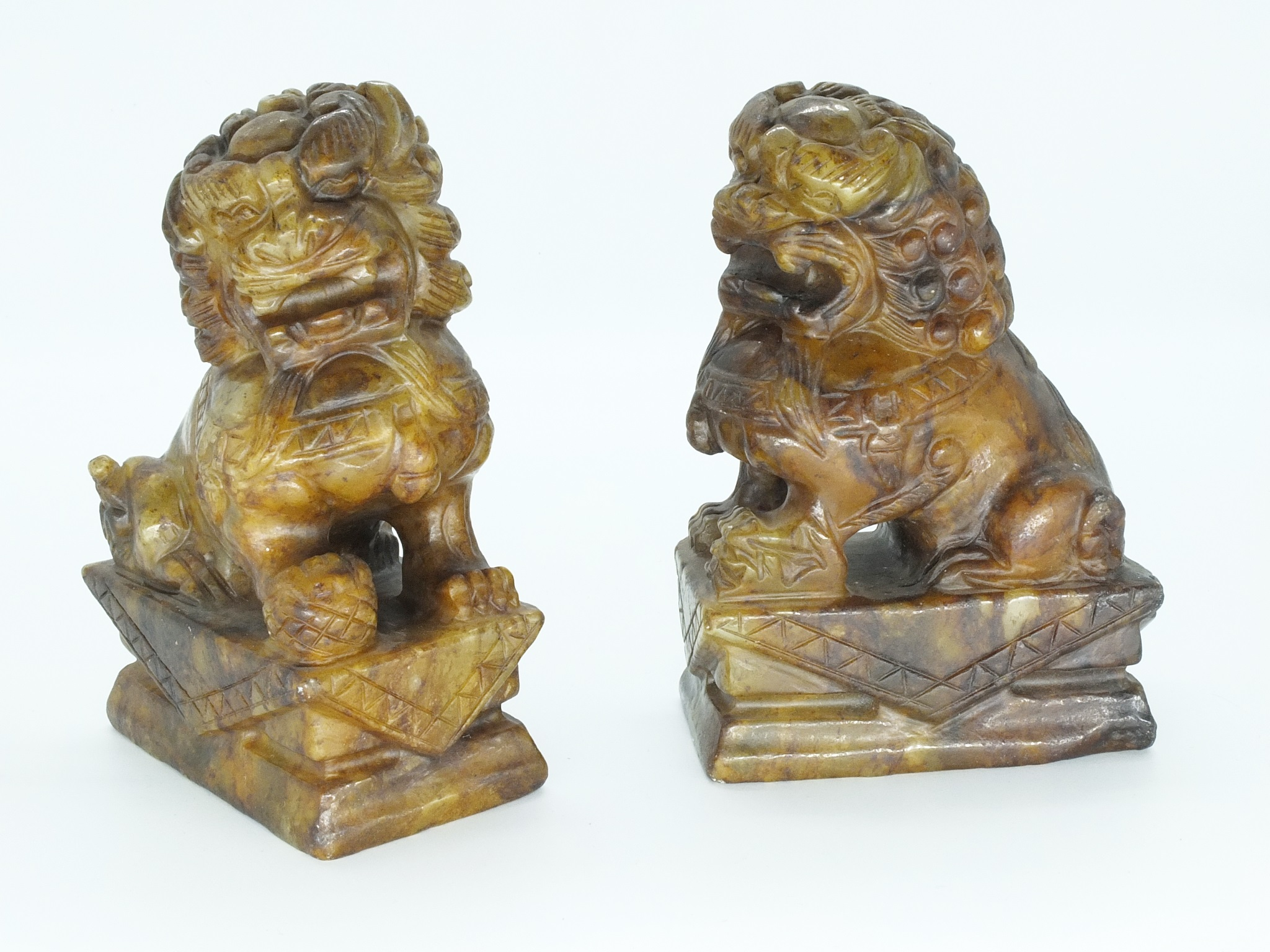 'Two Chinese Hardstone Temple Dogs 20th Century'