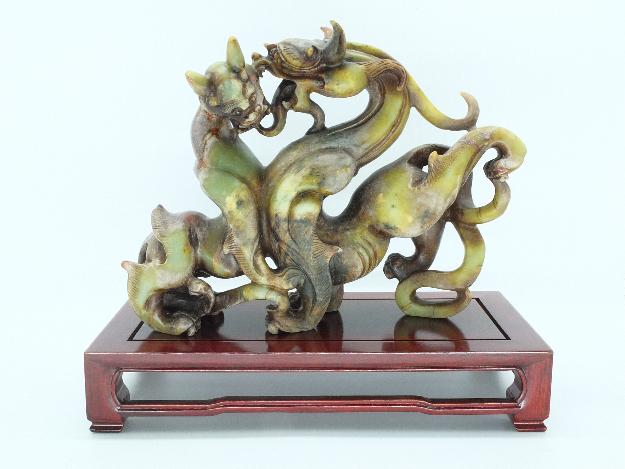 'Chinese Soapstone Fighting Chimeras 20th Century'