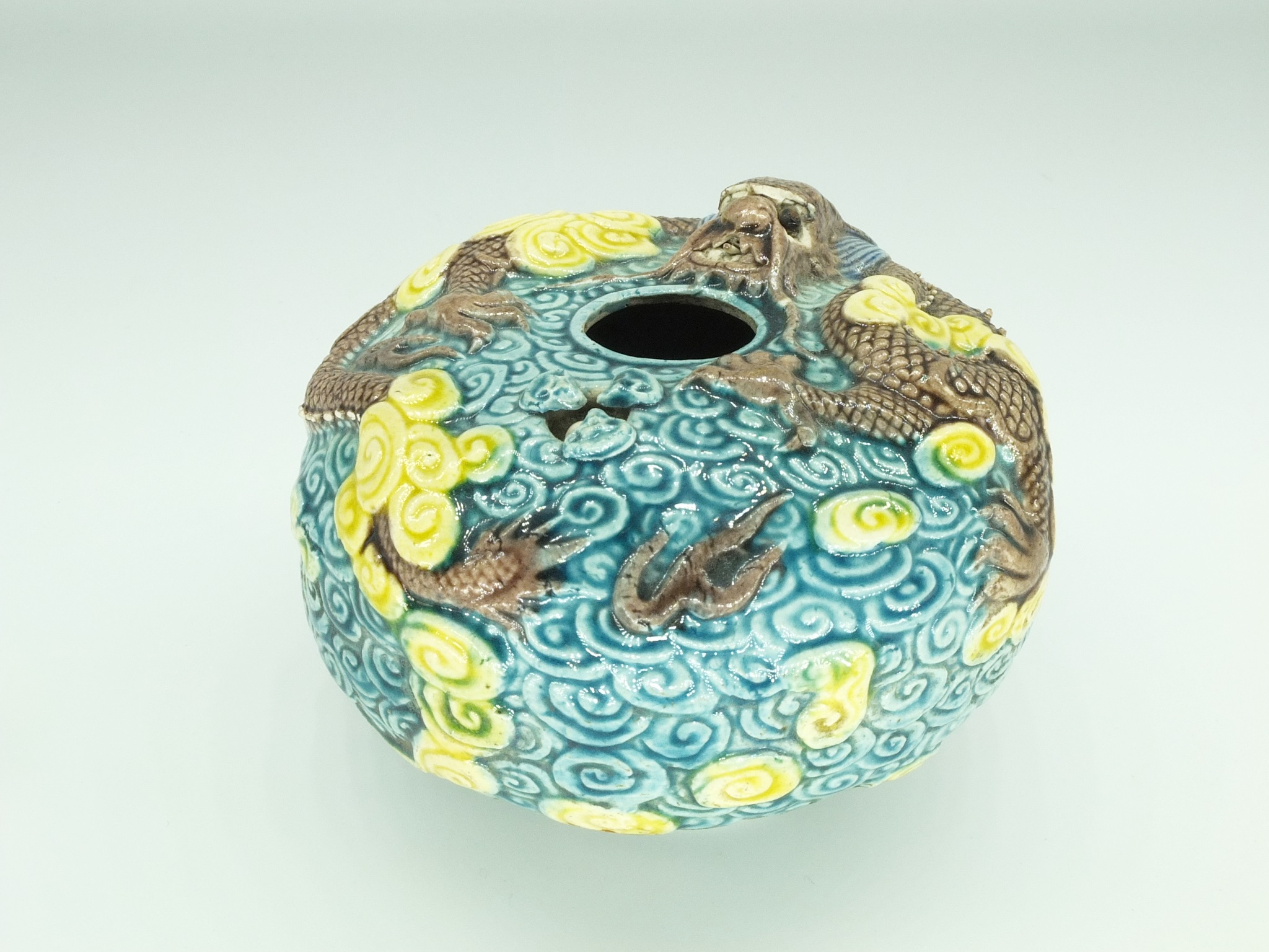 'Chinese Moulded and Carved Dragon Calligraphers Water Pot, Early 20th Century'