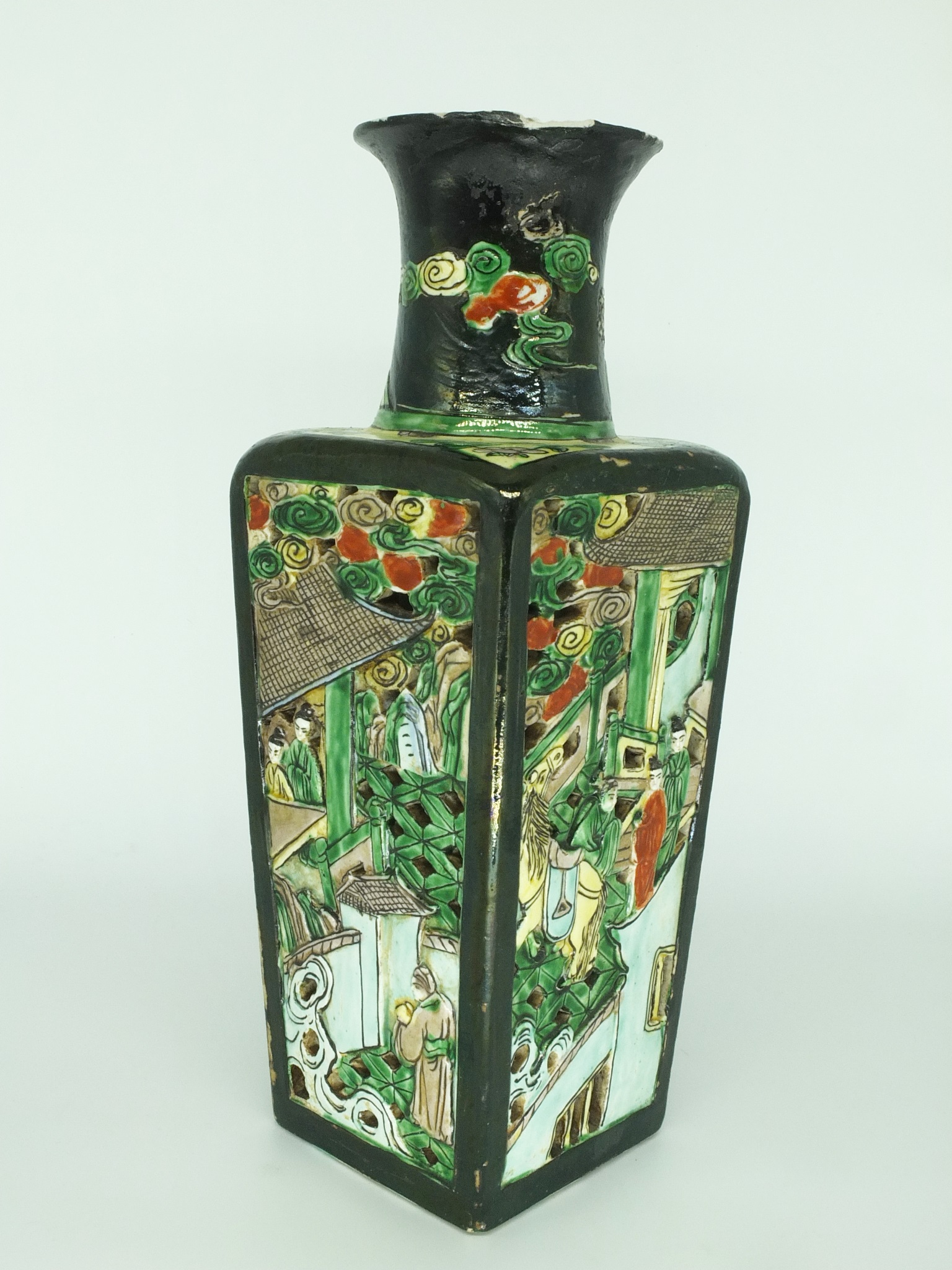 'Chinese Famille Verte Reticulated Square Vase, Late 19th or Early 20th Century'