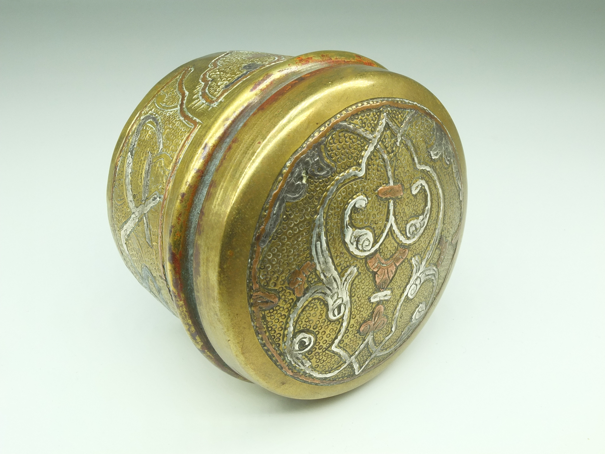 'Cairo Ware Silver and Copper Inlaid Brass Box Egypt or Damascus, Early 20th Century'