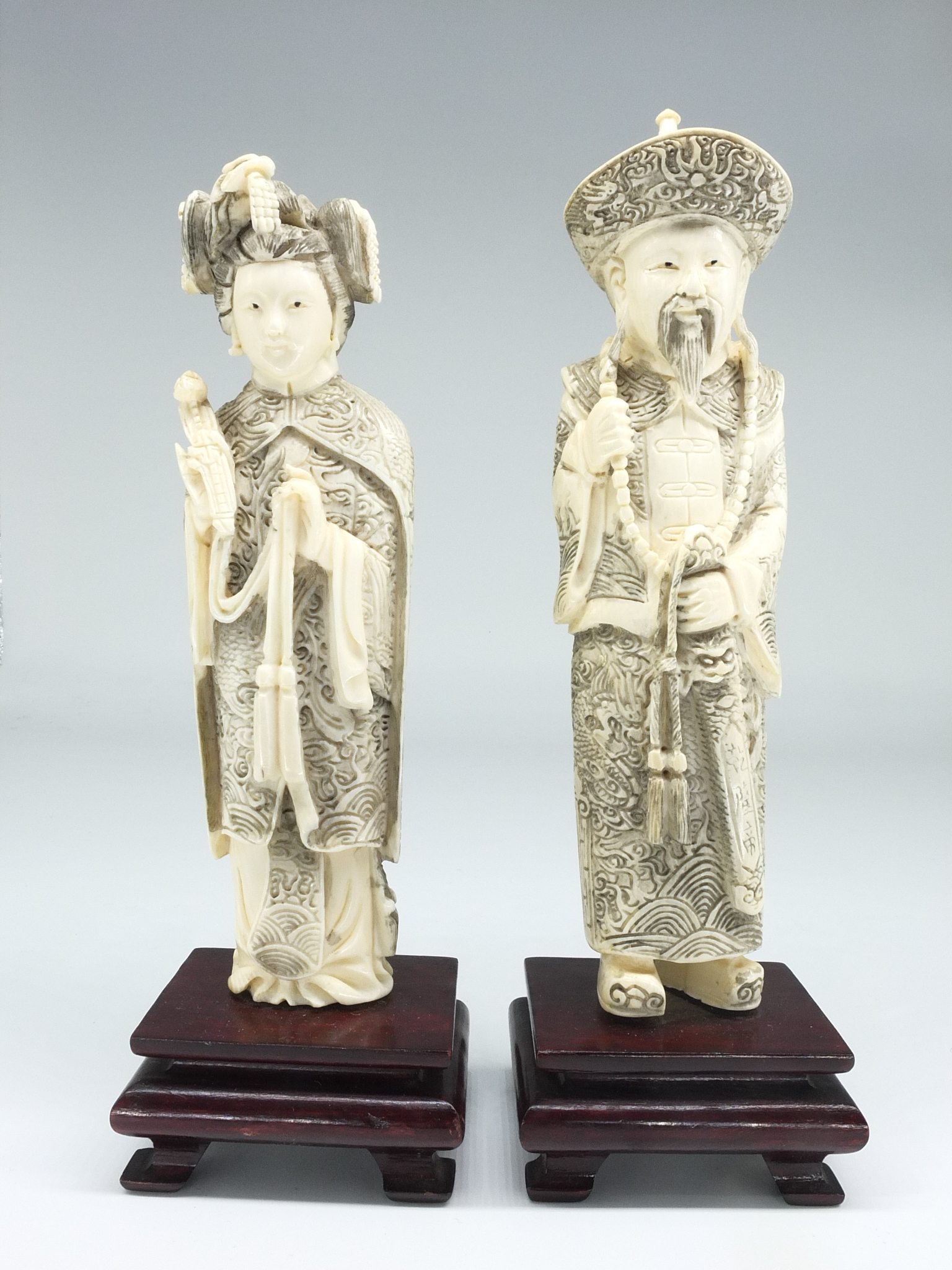 'Chinese Elephant Ivory Emperor and Empress Figures Early to Mid 20th Century'