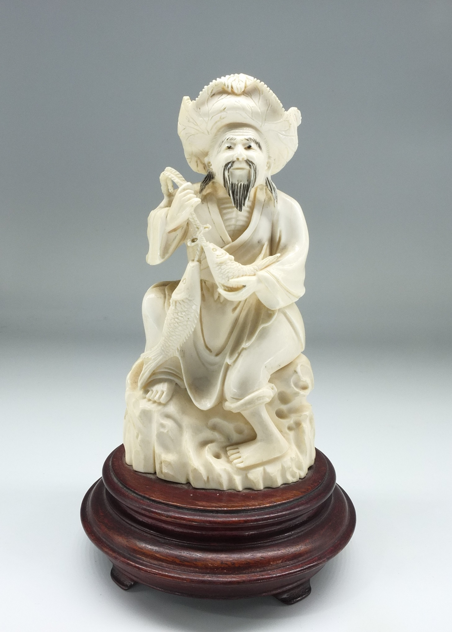 'Chinese Elephant Ivory Fisherman Early to Mid 20th Century'