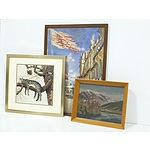 Monet Print, Two Tapestries and a Vintage Mirror