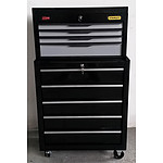 Pair of Stanley 4-Drawer Chest and 5-Drawer and Cabinet Work Station - Demonstration Model - Black