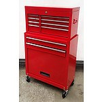 Pair of 4-Drawer Chest and 2-Drawer-Cabinet Roller Work Station - Demonstration Model - Red