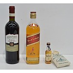 Johnnie Walker Red Label Blended Scotch Whiskey, Bell's Blended Scotch Whiskey and Borgo SanLeo Chianti 2011
