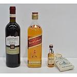 Johnnie Walker Red Label Blended Scotch Whiskey, Bell's Blended Scotch Whiskey and Borgo SanLeo Chianti 2011