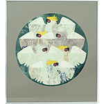 Cornel Swen (1930-) Sulphur Crested Cockatoos, Dye on Washi Paper