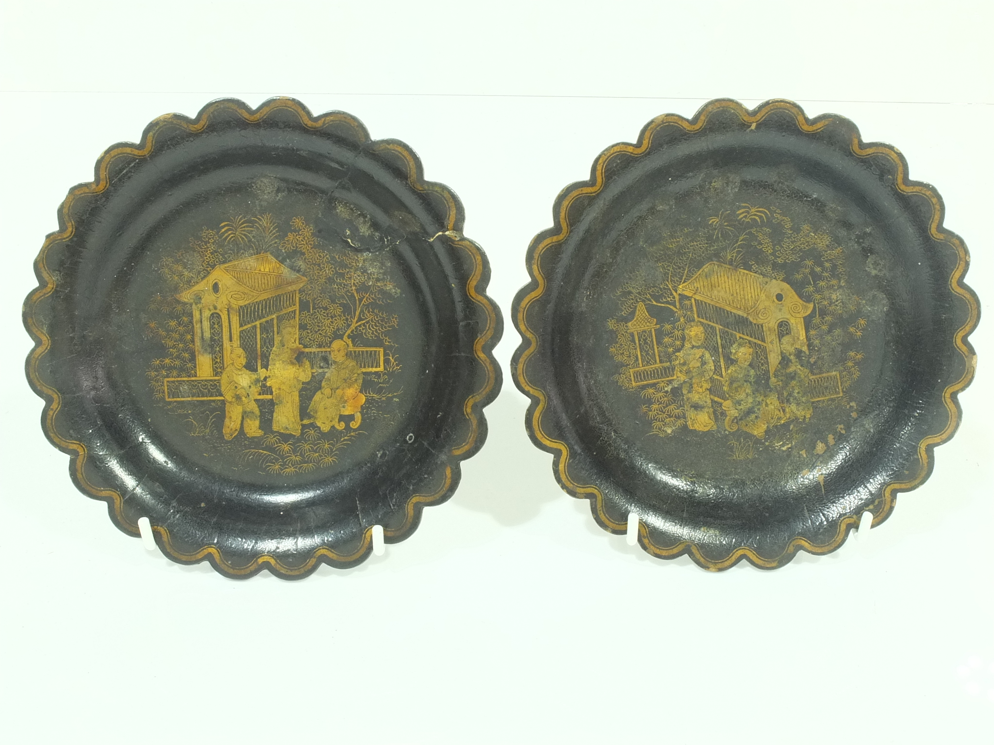 'Pair of Chinese Export Black Lacquer and Gilt Lobed Dishes Circa 1900'