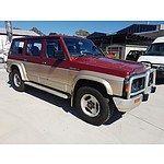 8/1992 Nissan Patrol ST (4x4) GQ 4d Wagon Red and Beige 4.2L