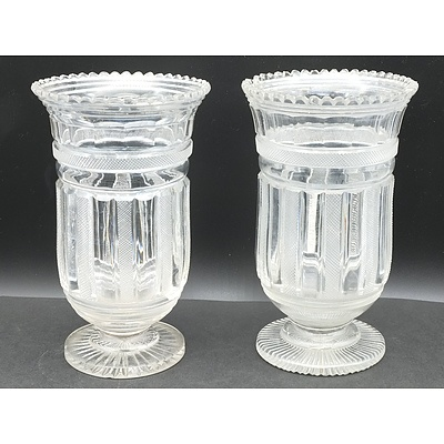 Pair of Georgian Cut Glass Celery Vases, 19 Century Cut Glass Dish from a Tazza, Hoc Glasses and More
