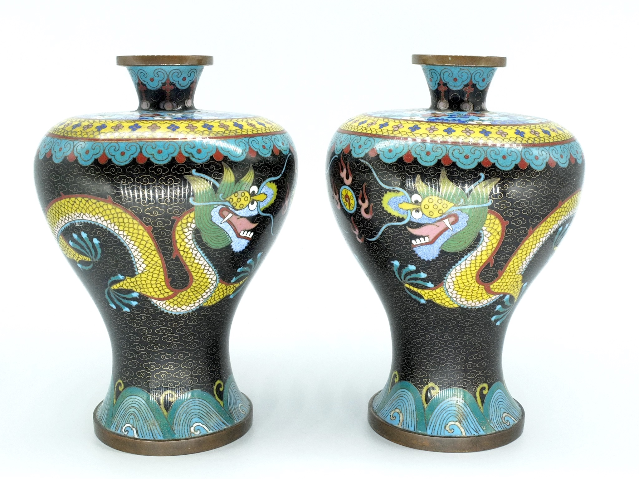 'Pair of Chinese Cloisonne Dragon Vases Early 20th Century'