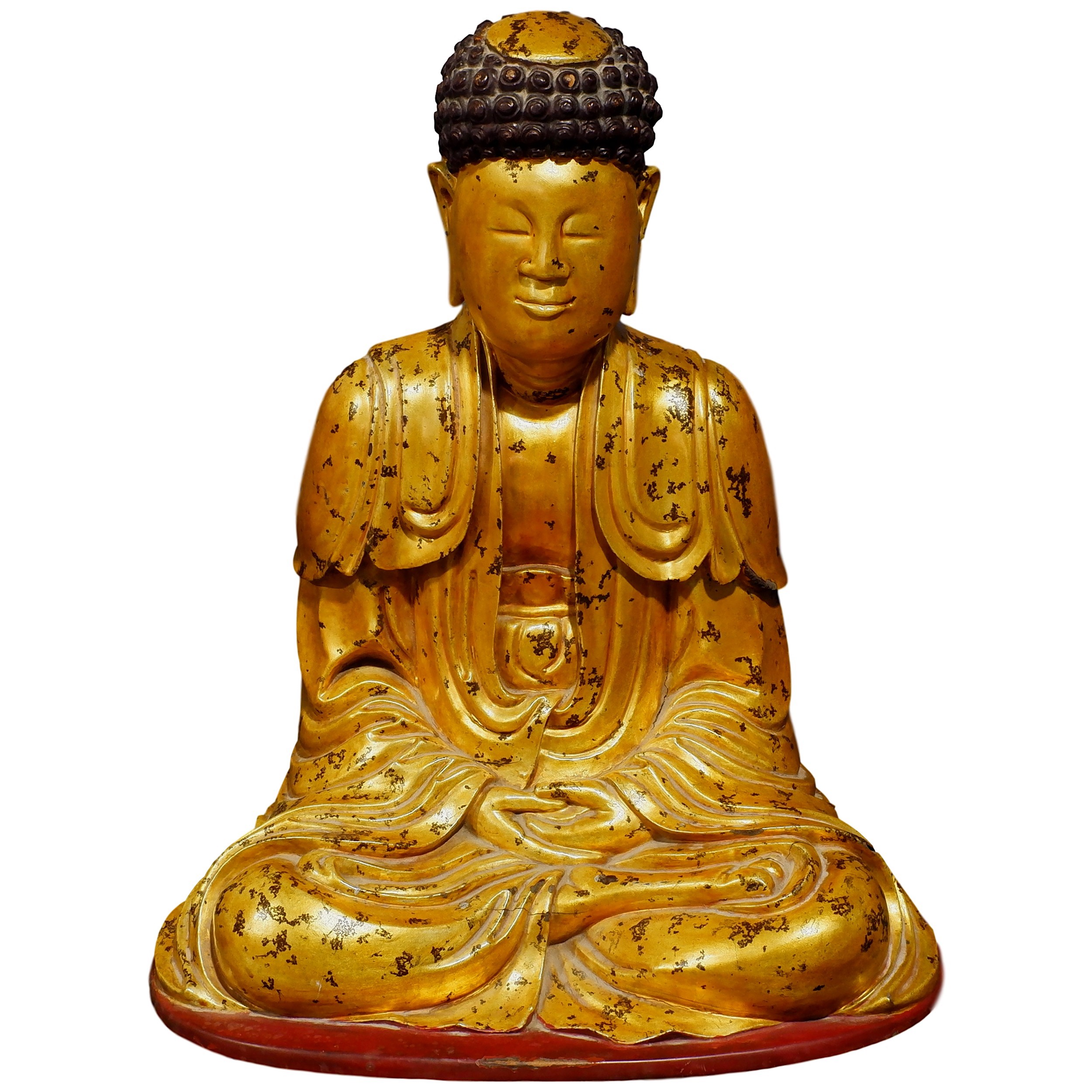 'Vietnamese Gold and Red Lacquered Carved Wood Figure of Buddha Shakyamuni in Dhyan Mudra'